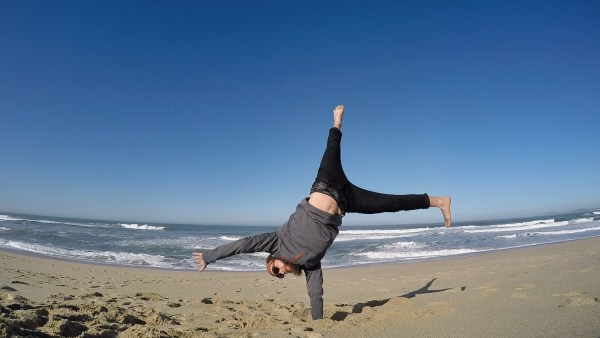 Half Moon Bay California doing a handstand