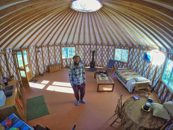 Photo of the inside of a yurt in Lyle, Washington.