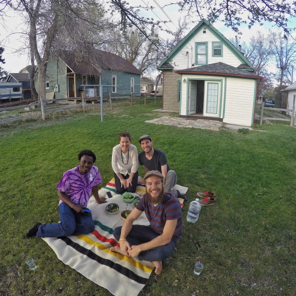 Photo of friends having a picnic in Livingston, Montana.
