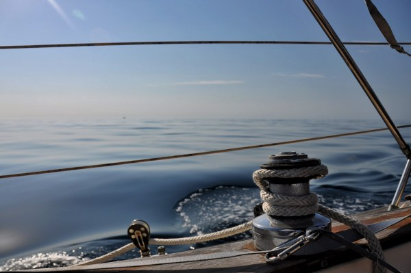 Photo of a winch on a sailboat in the gulf of mexico