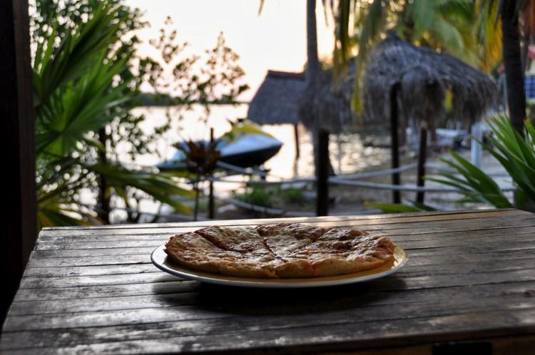 Photo of a pizza made by raquito at the marina bar in cayo largo, cuba