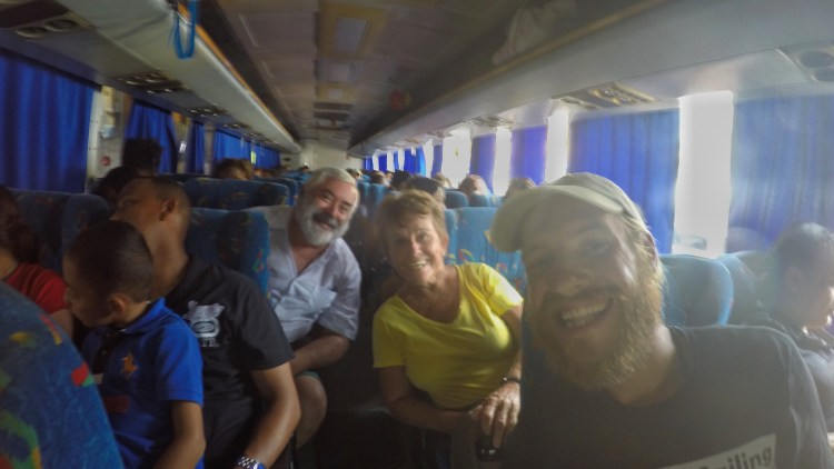 Photo of stevie vagabond with tourists on a bus in Panama