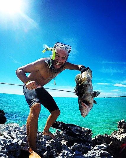 stevie vagabond with a large nassau grouper