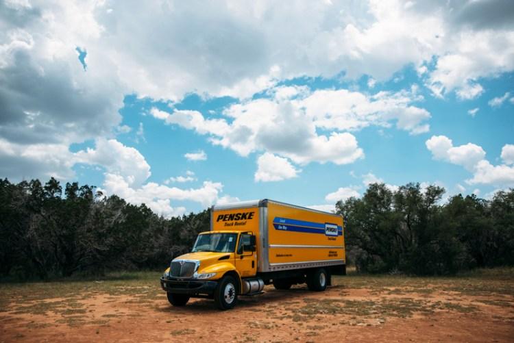 Penske moving truck parked at Pedernales Falls State Park