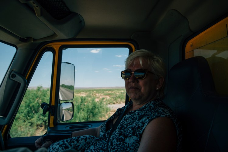 Photo of Stevie Vagabond's mom inside a Penske truck.