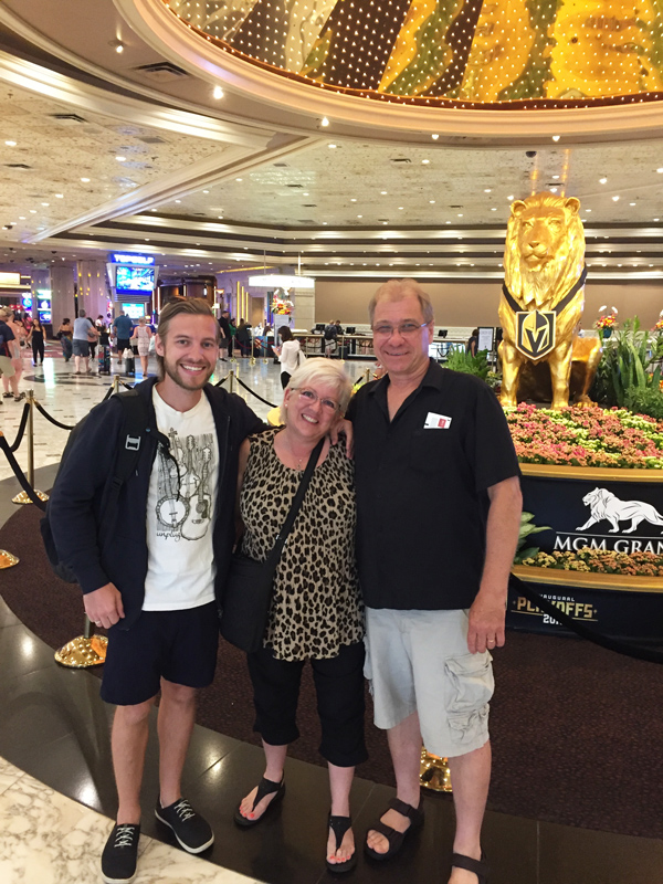 Photo of Stevie Vagabond with his parents at the MGM Grand in Las Vegas.