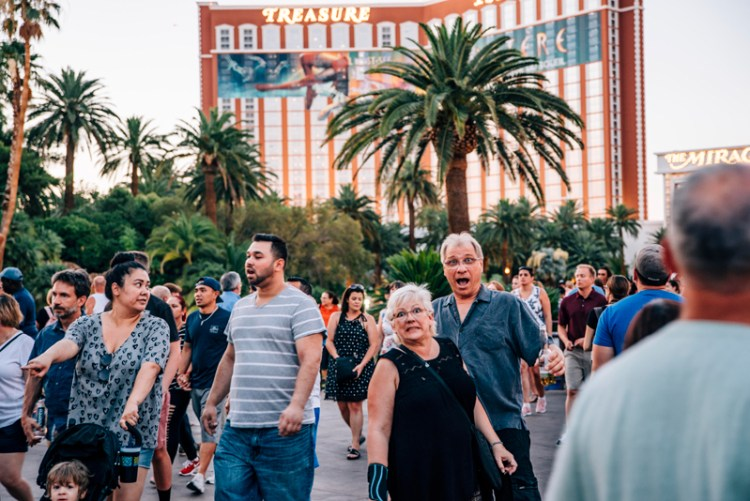 Mom and Dad overwhelmed by the crowd on the Vegas Strip