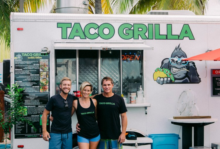 Stevie Vagabond with Amy & Riaan of Taco Grilla food truck in Key West.