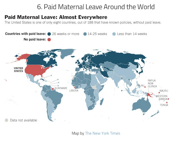 world map of paid maternity leave