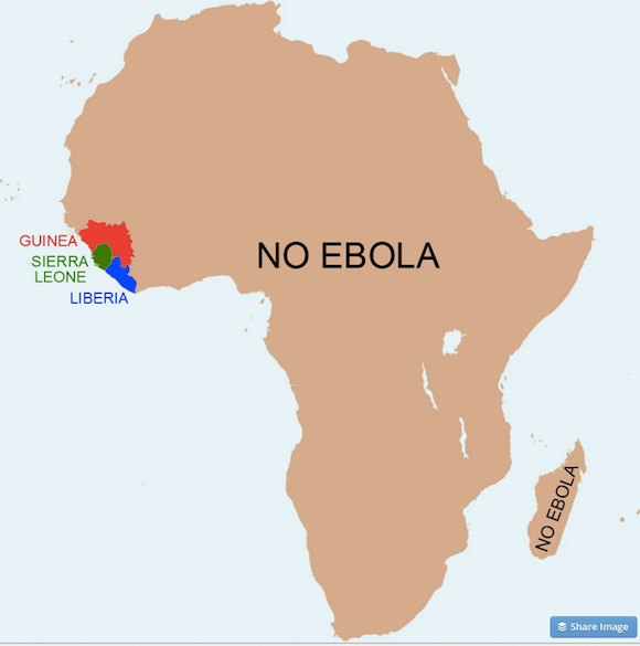 Map of Africa showing huge area with no Ebola