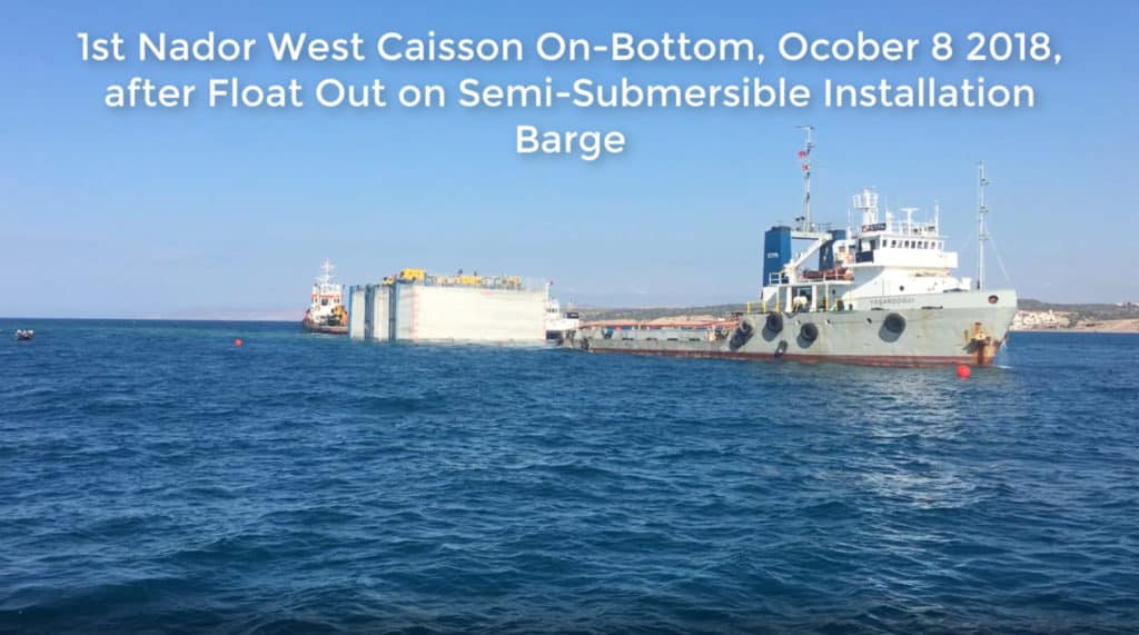 1st Nador Caisson Loaded Out, Floated Off & Ballasted Down.