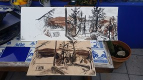 transferring the Drawing of Jardin de Mota to Plywood