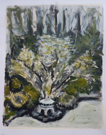 Heavenly Falls, Japanese Garden, Portland. sketchbook monprint, £30