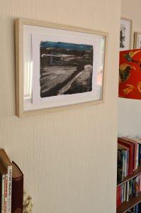 'Empty Landscape' framed in the Artist's Living Room