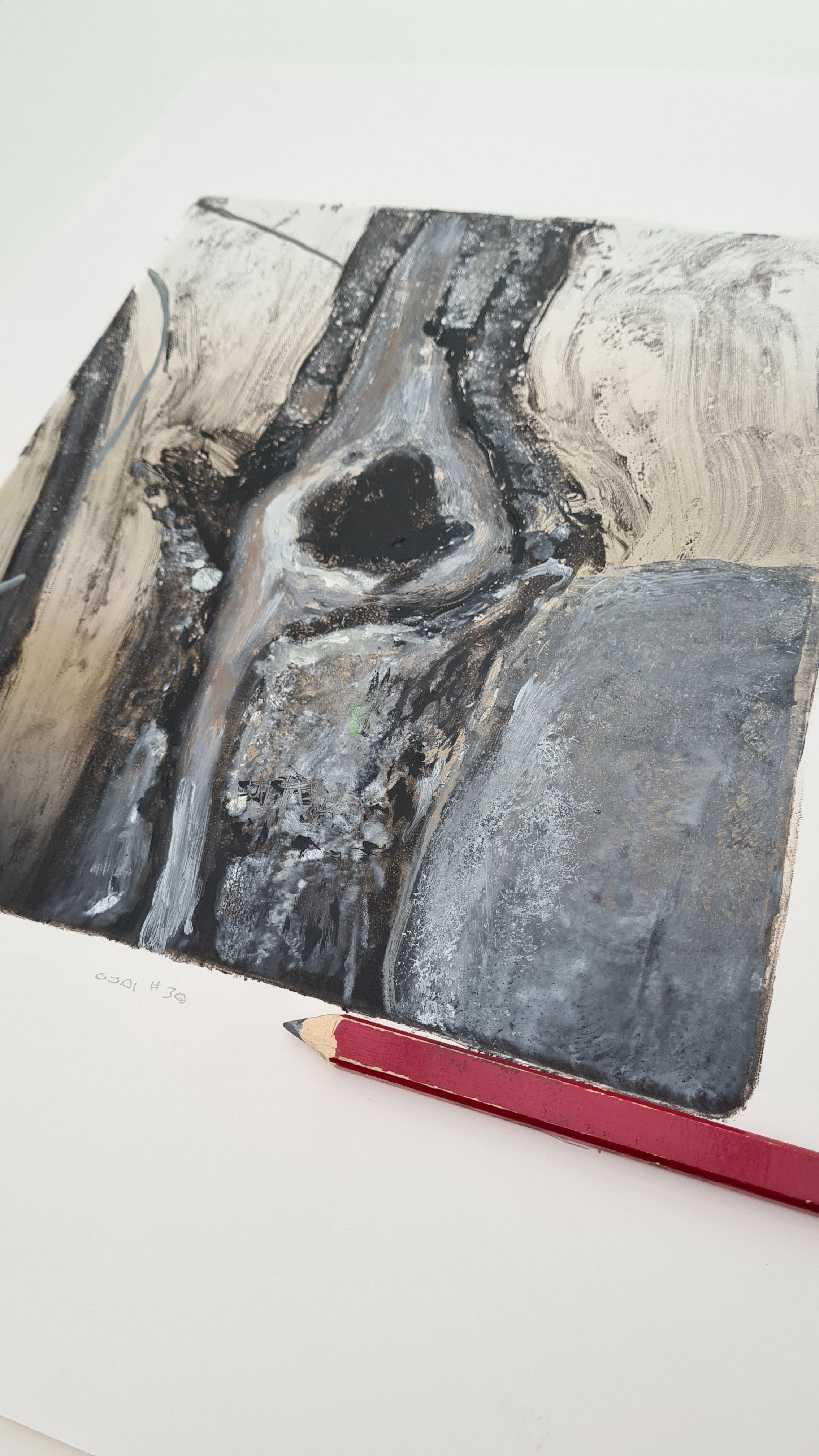 Ojai #30, Monoprint, 30cm x 35cm