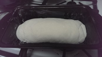 In bread pan prior to proof