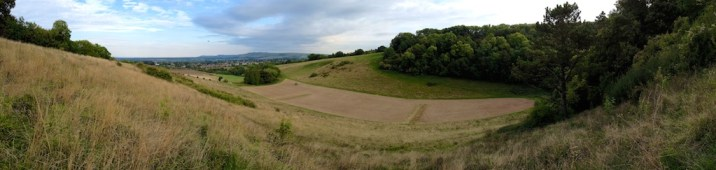 Panoramic wide angle view of the rifle range near Steyning on the South Downs
