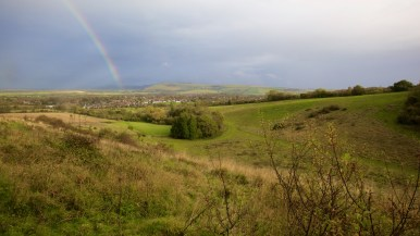 Rainbow over the village of Steyning as seen from the Downs