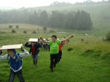 children in the rain on discovery day 2012