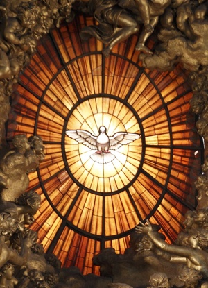 SCULPTURE NEAR HOLY SPIRIT WINDOW IN ST. PETER'S BASILICA