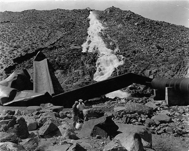 A section of the dynamited Los Angeles Aqueduct in the Owens Valley during the California water wars.