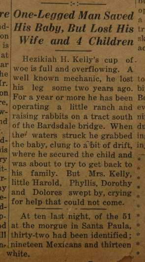 From the Fillmore American, Thursday, March 15, 1928, page 1. Victims and survivors of the St. Francis dam disaster.