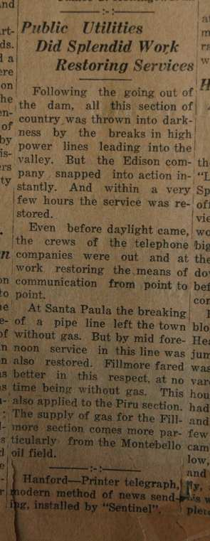 From the Fillmore American, Thursday, March 15, 1928, page 4. Victims and survivors of the St. Francis Dam disaster.