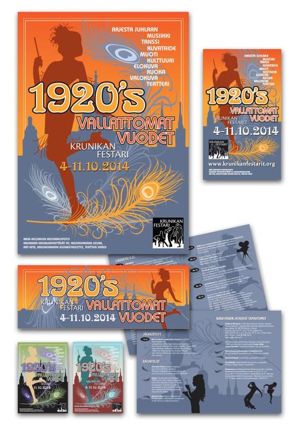 Identity, logo, brochure, ads and posters for a Helsinki neighborhood festival. 2014.