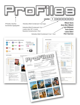 """Identity and logo design for ENglish study book series """"Profiles"""". Also lay-out and cover design for the whole series. Published by WSOY/Sanoma Pro. 2007"""