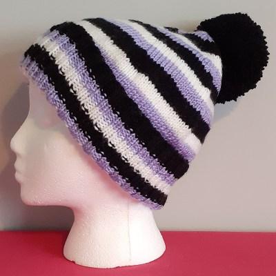 Stripy Handknitted Bobble Hat