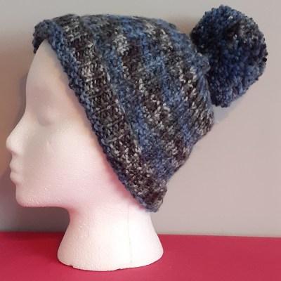 Multi-coloured Hanknitted Bobble Hat
