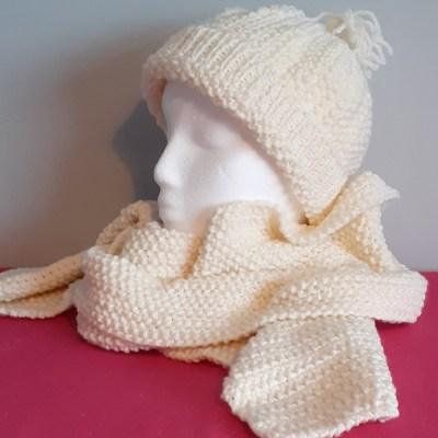 Cream Handknitted Hat & Scarf Set
