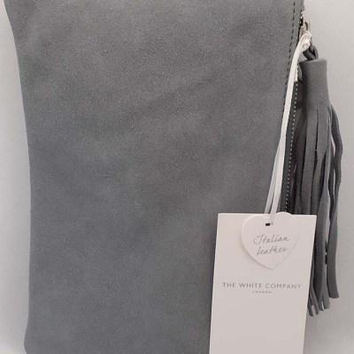 Italian Leather Grey Clutch