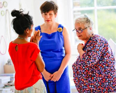 Tanvi Kant, Jessica Light, Sarah Campbell at Slow Textiles Group event, 2014