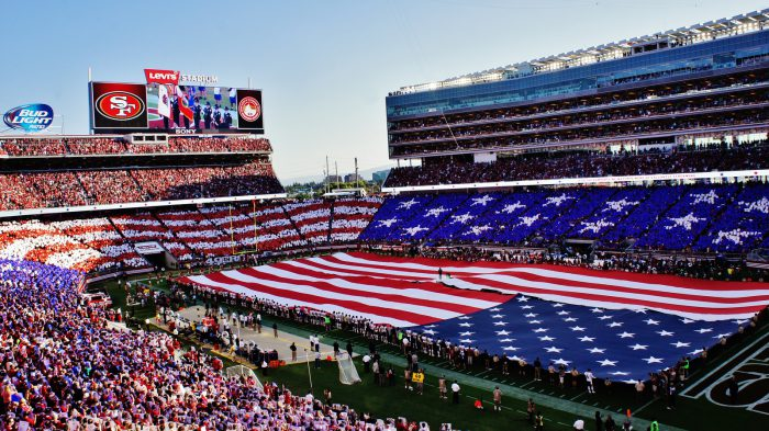 US flag at San Francisco 49ers game Levis Stadium