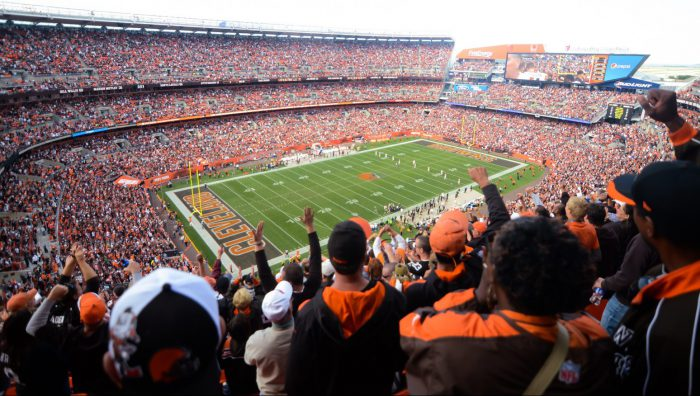 Cleveland Browns fans cheering in FirstEnergy Stadium