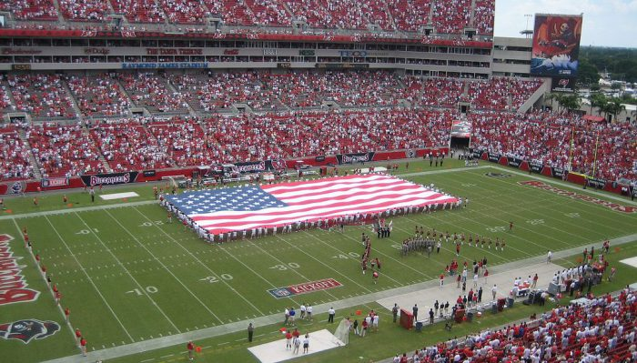 US flag at Tampa Bay Buccaneers game in Raymond James Stadium
