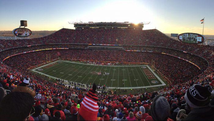 Kansas City Chiefs game at Arrowhead Stadium big screens