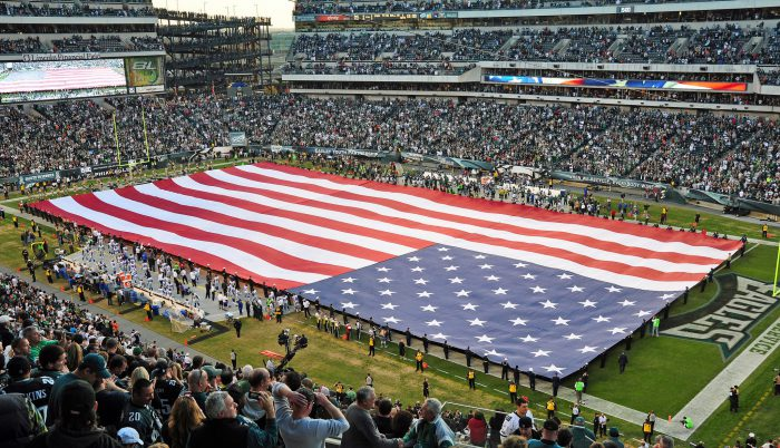 US flag at Philadelphia Eagles game in Lincoln Financial Field