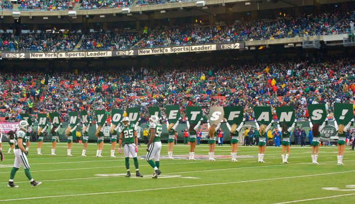 New York Jets cheerleaders players thank you jets fans on game day