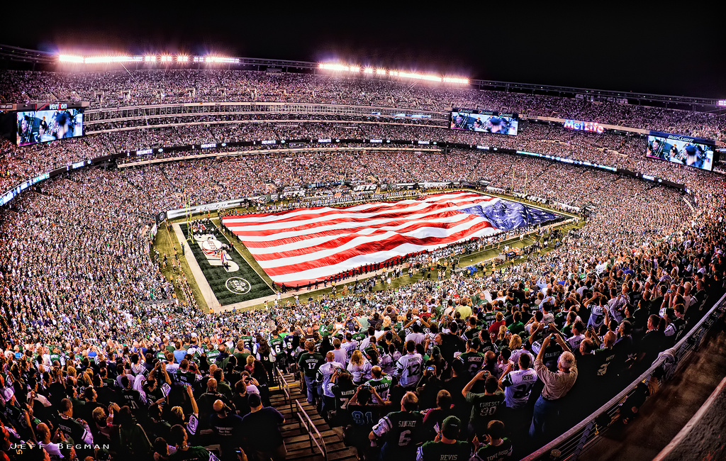 fans US flag on New York Jets game day at MetLife Stadium