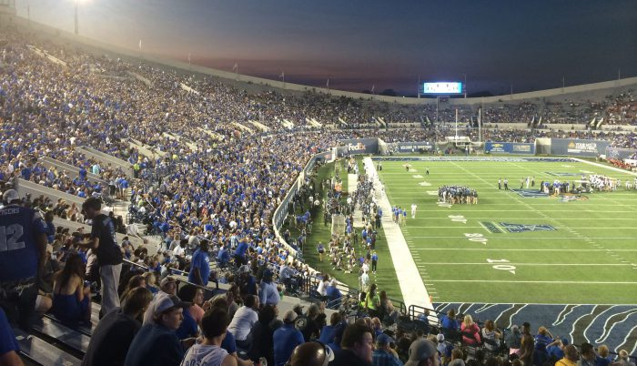 Memphis Tigers fans at the football game in Liberty Bowl Memorial Stadium