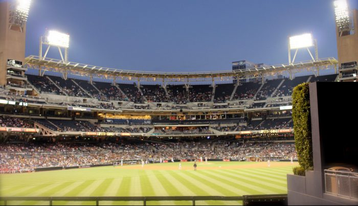 Petco Park baseball game at night