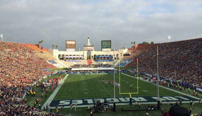 LA Rams Los Angeles fans at Memorial Coliseum