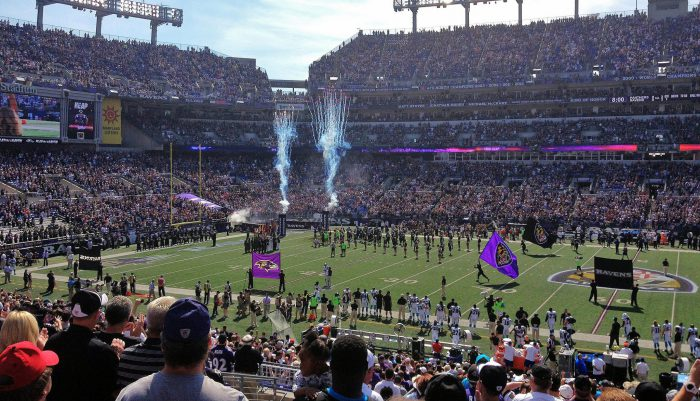 Baltimore Ravens players at M&T Bank Stadium