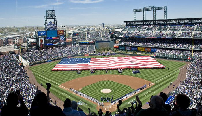 National anthem at Coors Field US flag