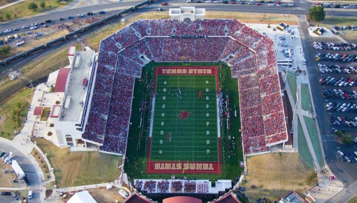 Texas State Bobcats stadium aerial view