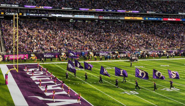 cheerleaders and fans at Minnesota Vikings game