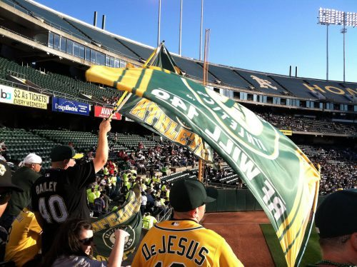 flags section one hundred forty nine Oakland Athletics