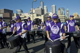 Minnesota Vikings Skol Line performance outside US Bank Stadium